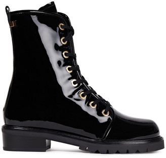 Stuart Weitzman Metermaid Patent-leather Combat Boots