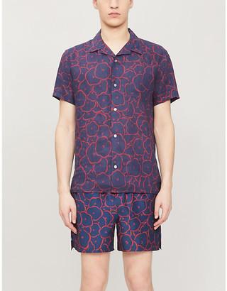 Derek Rose Milan linen floral-print short-sleeved shirt
