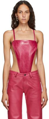 Mowalola Pink Leather Thong Bodysuit