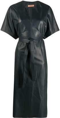 Yves Salomon Belted Flared Midi Dress