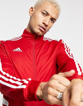adidas Football track jacket in red and white