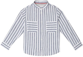 BRUNELLO CUCINELLI KIDS Striped linen and cotton shirt