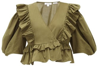 Rhode Resort Elodie Ruffle-trimmed Cotton-voile Blouse - Womens - Dark Green