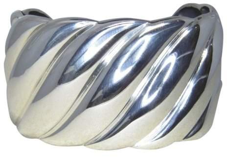 David Yurman 925 Sterling Silver Sculpted Cable Cuff Bracelet