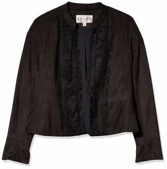 Nanette Lepore Women's L/s Fauxsuede Jacket W/Lace Front