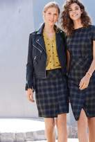 Next Womens Navy/Grey Check Wrap Skirt - Grey