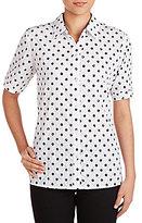 Allison Daley Petites Roll-Tab Sleeve Crinkle Burnout Dot Print Button Front Shirt