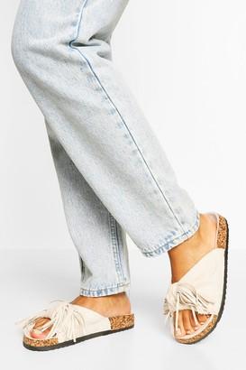 boohoo Bow Detail Footbed Sliders