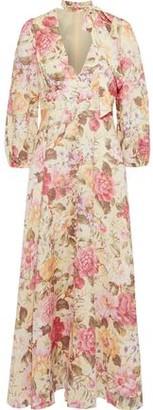 Zimmermann Honour Plunge Tie-neck Floral-print Linen Maxi Dress
