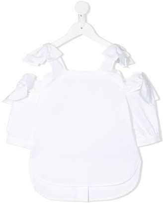 Lapin House Buttoned Off-The-Shoulder Blouse