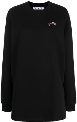 Off-White embroidered floral Arrow sweatshirt dress