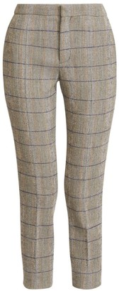 Chloé Stretch Wool Check Cropped Pants