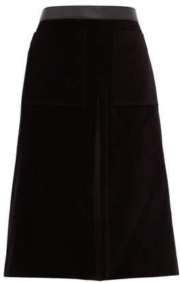 Burberry Flared Cotton-velvet Skirt - Womens - Black