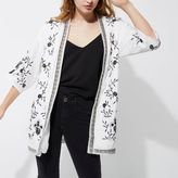 River Island Womens White embroidered kimono