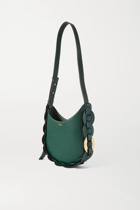 Chloé Darryl Small Braided Smooth And Textured-leather Shoulder Bag - Green