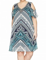 Thumbnail for your product : Sandra Darren Women's Plus Size Printed Chiffon Cold Shoulder Necklace Dress