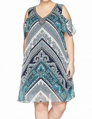 Sandra Darren Women's Plus Size Printed Chiffon Cold Shoulder Necklace Dress