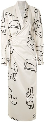 Framed Printed Wrap Gown