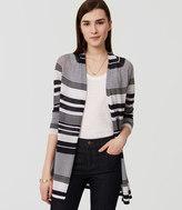 LOFT Petite Striped Fine Knit Open Cardigan