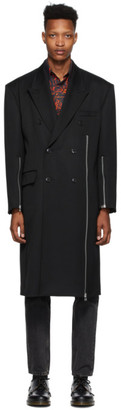 John Lawrence Sullivan Black Zip Double-Breasted Coat