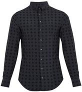 Giorgio Armani Single-cuff Flocked Silk And Cotton-blend Shirt