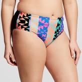 Xhilaration Women's Plus Size Strappy Hipster Bikini Bottom Black Juniors')