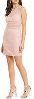 Jodi Kristopher Illusion Waist Lace Sheath Dress