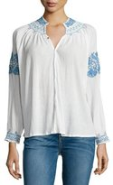 The Great The Traveler Embroidered Top, Cream/Blue