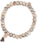 Sydney Evan 8mm Moonstone Beaded Bracelet w/ 14k Diamond Double-Heart Charm