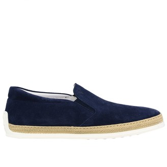 Tod's Tods Loafers Tods Slipper Sneakers In Suede With Rubber And Raffia Sole