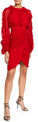 Giambattista Valli Ruffle-Trim Wrap-Skirt Dress