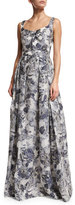 St. John Metallic Etched Floral V-Neck Gown, Blue/Silver