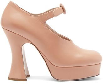 Miu Miu Curved-heel Leather Platform Mary Jane Pumps - Beige