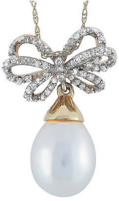 Non Branded Lb Exclusive 14K 0.15 Ct. Tw. Diamond & Pearl Necklace