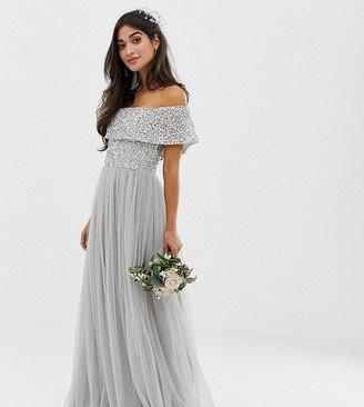 Maya Petite Bridesmaid bardot maxi tulle dress with tonal delicate sequins in silver
