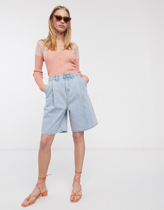 Lost Ink longline shorts with pleat front in vintage wash denim
