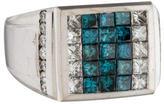 Ring 14K Blue & White Diamond