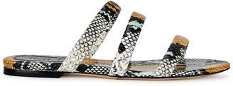 AEYDĒ Chrissy Snake-effect Leather Sandals