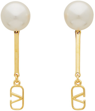 Valentino Gold Garavani Pearl VLogo Drop Earrings