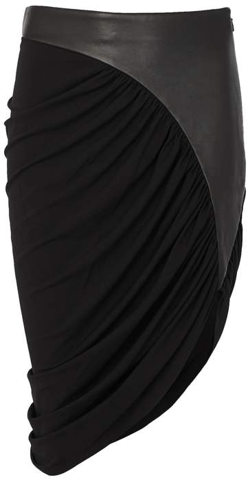 Alexander Wang Black Jersey And Leather Skirt