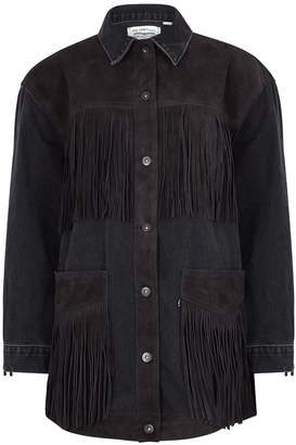 Levi's The Ranch Handler Fringed Suede And Denim Jacket