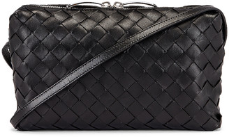 Bottega Veneta Leather Woven Crossbody Bag in Black & Silver | FWRD
