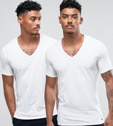 Calvin Klein V-neck T-shirt In 2 Pack White