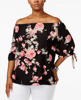 Soprano Trendy Plus Size Floral-Print Off-The-Shoulder Top