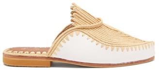 Kilometre Paris - Raffia And Leather Backless Loafers - White