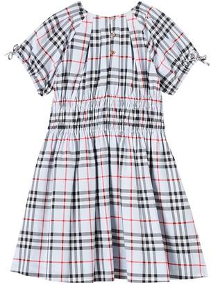 Burberry Kids Blue Check Print Dress