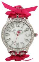 Betsey Johnson Women's Pink Lace-Up Watch, 42mm