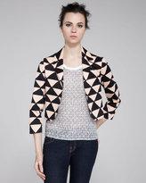 Tanzanite Printed Cropped Blazer