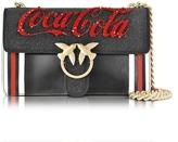 Pinko Love Profitterol Black Leather Shoulder Bag w/Golden Chain