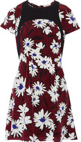 Nina Ricci Crepe-trimmed printed washed-silk dress
